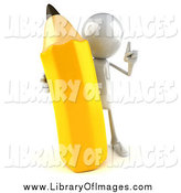 Clip Art of a 3d White Man Holding a Large Pencil by Julos