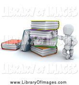 Clip Art of a 3d White Man Leaning Against a Giant Stack of Colorful Text Books by KJ Pargeter