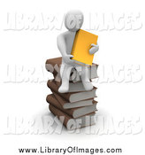 Clip Art of a 3d White Man on a Pile of Books by Jiri Moucka