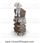 Clip Art of a 3d White Man Sitting on a Stack of Books by Jiri Moucka