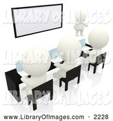 Clip Art of a 3d White People Using Laptops in a Meeting or Classroom by Andresr