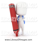 Clip Art of a 3d White School Boy with a Giant Red Crayon by BNP Design Studio