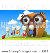 Clip Art of a 3d White Students Walking into an Owl School by BNP Design Studio