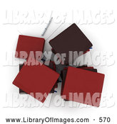 Clip Art of a Aerial View of Stacks of Red Office Books or Binders Resting by Paper and a Pen by Frank Boston