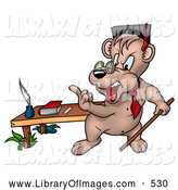 Clip Art of a Angry Stern Professor Bear Teaching a Class with a Pointer Stick, Gesturing with His Finger by Dero