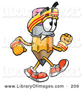 Clip Art of a Athletic Pencil Mascot Cartoon Character Speed Walking or Jogging by Toons4Biz