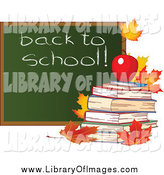 Clip Art of a Autumn Leaves and a Back to School Chalk Board with Books by Pushkin