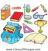 Clip Art of a Back to School Backpack and Items by Visekart