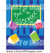 Clip Art of a Back to School Chalk Board with Text Books over Blue Stripes by