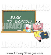 Clip Art of a Back to School Chalkboard and Pencil by Hit Toon