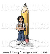 Clip Art of a Back to School Girl Elementary School Student Standing by a Giant Yellow Pencil, Wearing a Backpack and Holding a Book Clipart Illustration by Leo Blanchette