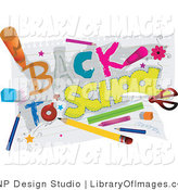 Clip Art of a Back to School Greeting with Supplies by BNP Design Studio