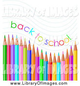 Clip Art of a Back to School Text and Waves over Colored Pencils by Pushkin