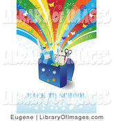 Clip Art of a Back to School Text with School Supplies in a Bag Under a Shooting Rainbow with Fireworks and Butterflies by Eugene