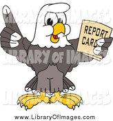 Clip Art of a Bald Eagle Holding a Report Card by Toons4Biz