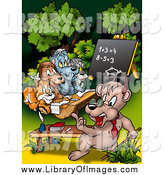 Clip Art of a Bear Teacher Instructing Class in the Woods by Dero