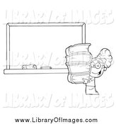 Clip Art of a Black and White School Girl Carrying Books by a Blank Chalk Board by Hit Toon