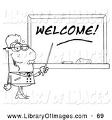 Clip Art of a Black and White Senior Male School Teacher Pointing to a Welcome Chalk Board by Hit Toon