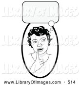 Clip Art of a Black and White Smart Girl in Thought, Touching Her Lip, a Bubble Above Her Head by C Charley-Franzwa