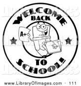 Clip Art of a Black and White Welcome Back to School Pencil Circle Design by Hit Toon