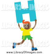Clip Art of a Black Boy with Orange Hair, Running with Letter H by Prawny