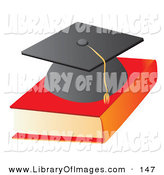 Clip Art of a Black Graduation Cap on Top of a Text Book School by Rasmussen Images