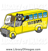 Clip Art of a Black Jaguar Character School Bus Driver by Toons4Biz