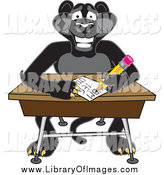 Clip Art of a Black Jaguar Student Taking a Quiz by Toons4Biz