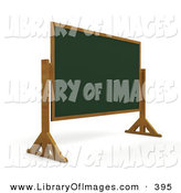 Clip Art of a Blank Green Chalkboard on Wooden Legs in a Class Room on White by KJ Pargeter