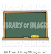 Clip Art of a Blank Green Classroom Chalkboard with White Chalk and an Eraser on the Bottom by Hit Toon