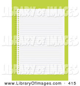 Clip Art of a Blank Lined Sheet of Paper in a Notebook, over a Lime Green Background by Eugene