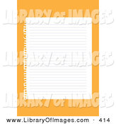 Clip Art of a Blank Lined Sheet of Paper Ripped out of a Ringed Notebook, over an Orange Background by Eugene