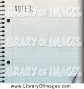 Clip Art of a Blank Ruled Piece of Paper in a Notebook by Arena Creative