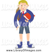 Clip Art of a Blond School Boy Standing with a Red Book by Prawny