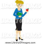 Clip Art of a Blond White School Teacher Woman Carrying an Apple and Book by Rosie Piter