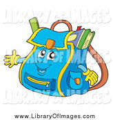 Clip Art of a Blue Backpack Character by Visekart