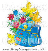 Clip Art of a Blue Backpack Resting in Front of Autumn Leaves and Berries and a Bouquet of Flowers by Alex Bannykh
