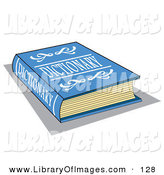 Clip Art of a Blue Dictionary Book with White Text on the Cover over White by Andy Nortnik