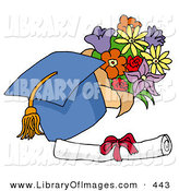 Clip Art of a Blue Graduation Cap with a Yellow Tassel, Resting by a Floral Bouquet and Diploma on Graduation Day by LaffToon