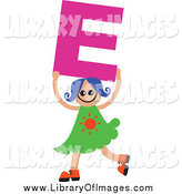 Clip Art of a Blue Haired White Girl Holding up a Letter E by Prawny