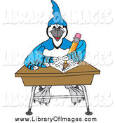 September 13th, 2014: Clip Art of a Blue Jay Mascot Doing Homework at a Desk by Toons4Biz