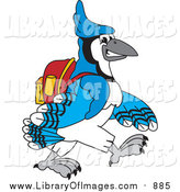 Clip Art of a Blue Jay School Mascot Walking to School by Toons4Biz
