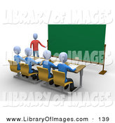 Clip Art of a Blue Professor Standing in Front of a Blank Chalkboard and Using a Pointer Stick While Teaching a Row of Focused Students in a Classroom by 3poD