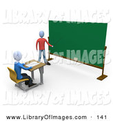 Clip Art of a Blue Teacher Person Standing in Front of a Blank Chalkboard and Using a Pointer Stick While Teaching a Single Student by 3poD