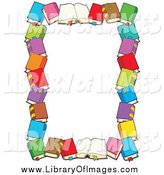 Clip Art of a Border of Books and Text Space by Visekart