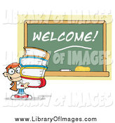 Clip Art of a Boy Carrying Text Books by a Welcome Chalkboard by Hit Toon