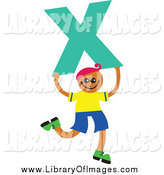 Clip Art of a Boy Kid Holding a Letter X by Prawny