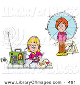 Clip Art of a Boy Standing in Front of a Circle and Girl Listening to a Radio, on White by Alex Bannykh
