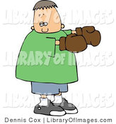 Clip Art of a Boy Wearing Brown Boxing Gloves by Djart