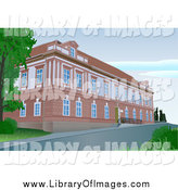 Clip Art of a Brick Building by Dero